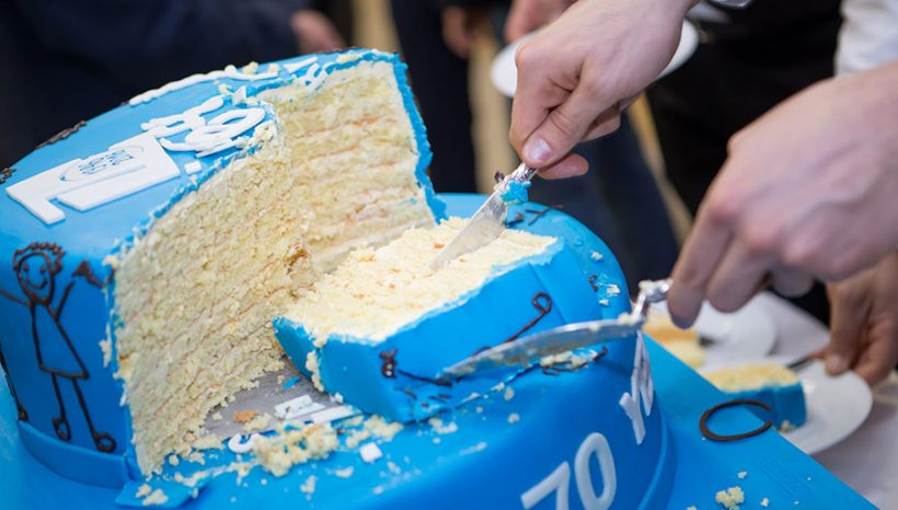 "THE 70TH ANNIVERSARY  CAKE FOR THE UNITED NATIONS CHILDREN'S FUND WAS PRESENTED BY ""PASTICCERIA"""