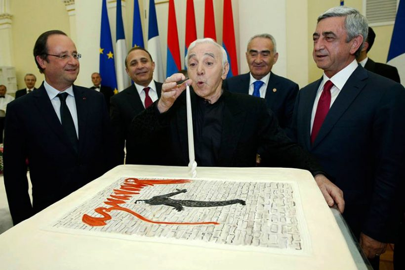 THE FESTIVE CAKE FOR THE OCCASION OF CHARLES AZNAVOUR'S 90TH  ANNIVERSARY WAS PRESENTED BY ,,PASTICCERIA""